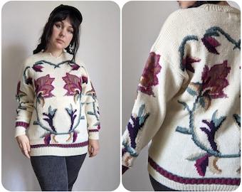M - Big Floral Print Cozy Sweater / Fall Autum Botanical Print Pullover / Vintage Wool Grandmacore Large Print Sweater