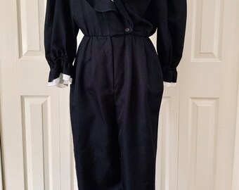 13c34d5f48a Totally Awesome Black White Ruffled Jumpsuit - 1980s - Dynasty Dreams!