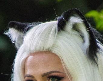 Realistic Black and White Cat Ears - Fox Ears - Wolf Ears - Faux Fur Animal Ears for Costume, Cosplay, Nekomimi, Kemonomimi