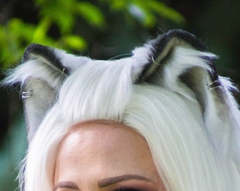 Realistic Cat Ears - White with Black Tips - Fox Ears - Wolf Ears - Faux Fur Animal Ears for Costume, Cosplay, Nekomimi, Kemonomimi