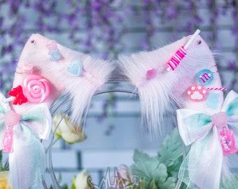 Halloween Candy Cat Ears - Faux Fur Fox, Cat, Kitten, Neko, Animal Ears for Costume, Cosplay, Nekomimi, Kemonomimi, Alt Fashion - Baby Pink