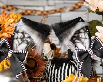 Halloween Spiderweb Cat Ears - Faux Fur Fox, Kitten, Neko, Animal Ears for Costume, Cosplay, Nekomimi, Kemonomimi, Alt Fashion - White