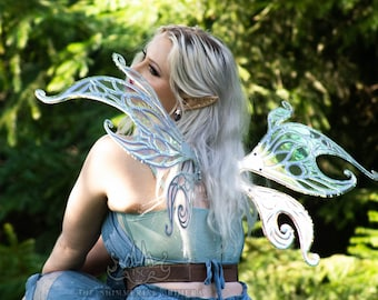 Moonfae Iridescent Fairy Wings - Wings for Costume, Cosplay, Festival, Party - Blue / Pink / Purple Pastel / Silver