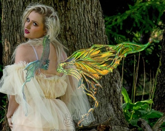 Large Iridescent Fairy Wings - Wings for Costume, Cosplay, Festival, Party - Green / Gold / Orange / Blue