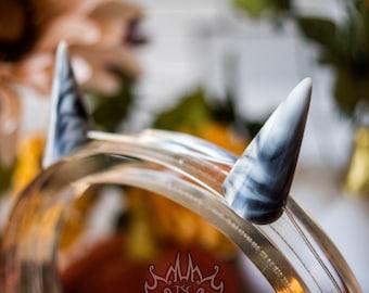 Halloween Chibi Horns - Small Monster Horns, Demon Horns, Dragon Horns for Costume, Cosplay, Alt Fashion - Blurred Black and White