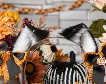 Halloween Micro Kitten Ears - Faux Fur Fox, Cat, Neko, Animal Ears for Costume, Cosplay, Nekomimi, Kemonomimi, Alt Fashion - White