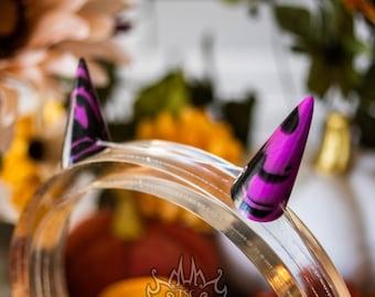 Halloween Chibi Horns - Small Monster Horns, Demon Horns, Dragon Horns for Costume, Cosplay, Alt Fashion - Purple and Black