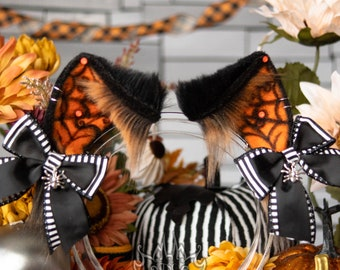 Halloween Spiderweb Cat Ears - Faux Fur Fox, Kitten, Neko, Animal Ears for Costume, Cosplay, Nekomimi, Kemonomimi, Alt Fashion - Orange