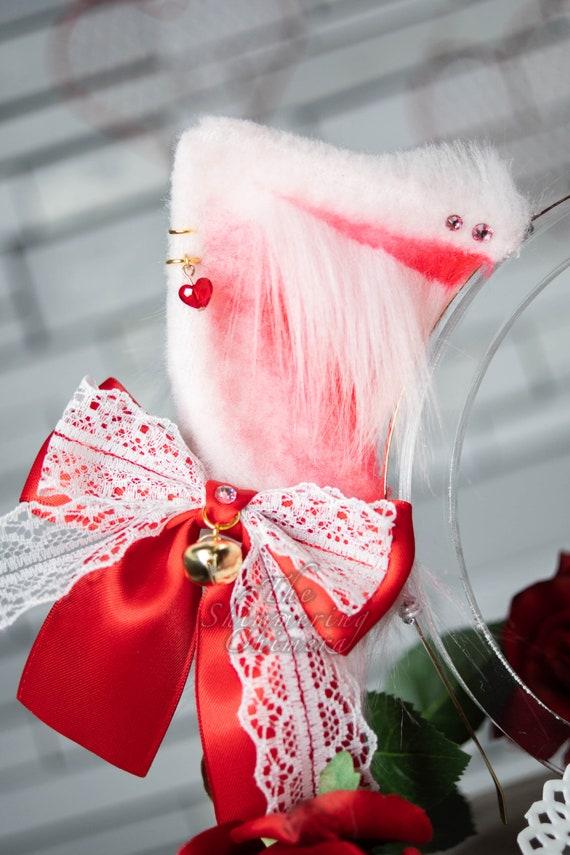 Feline Cosplay Kemonomimi Neko Kitten Red and Pink Valentine/'s Themed Cat Ears Nekomimi Faux Fur Ears for Costume Pet Play