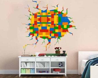 lego wall decal etsy rh etsy com LEGO Themed Bedroom Wall Murals LEGO City Wall Decals