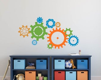 Robot Gears Wall Decal Wheels Cogs Vinyl Decals Boys Room Decor
