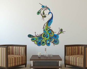 71691fc3907 Peacock wall decal