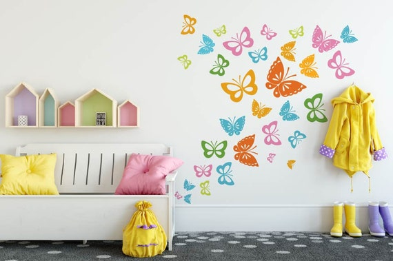 Butterfly Wall Decals, Girl Bedroom Decal, Butterflies wall decal, Nursery  Wall Decal, Butterflies Vinyl Sticker, Girls Room Decor 30 Pcs