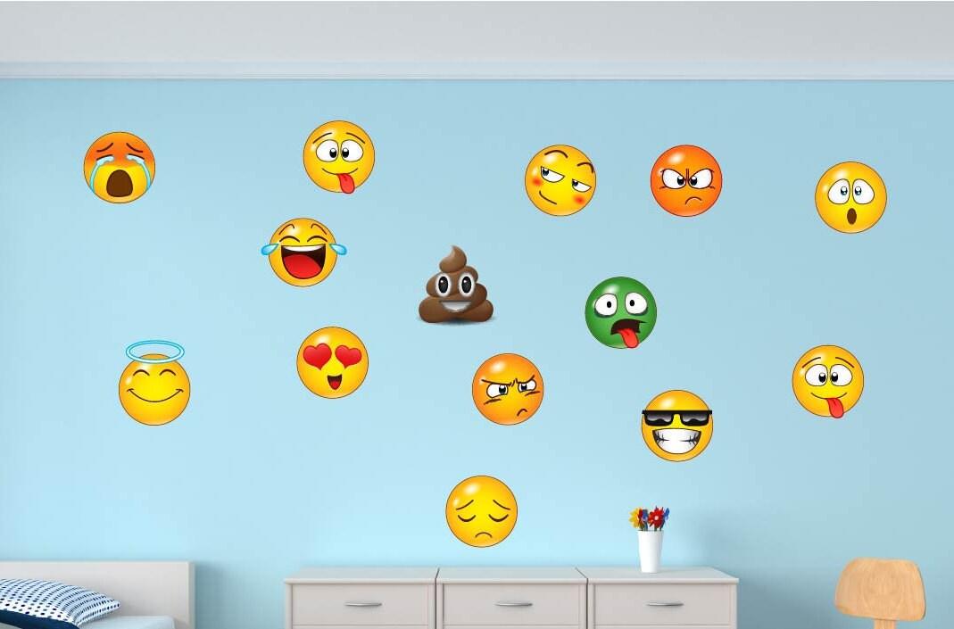 Emojis Emoticons Wall Decal Emoji Mural Emoticon Decals Etsy