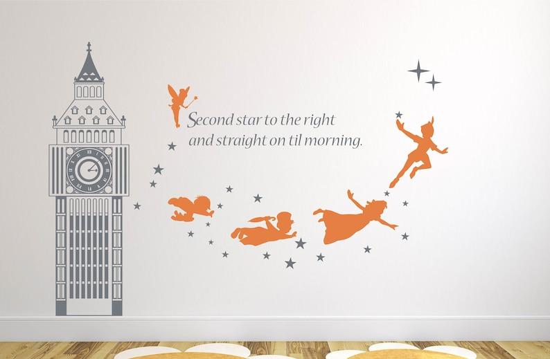 1b0f21d8ffd4 Big Ben Clock Wall Decal Peter Pan Wall Decal Nursery Decal | Etsy