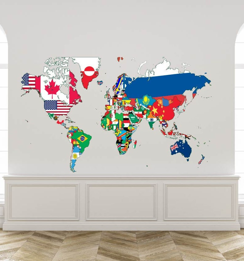 World Map Wall Decal Global world map Decal Countries Flags   Etsy