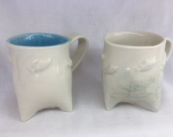 Porcelain Tri-Foot Mugs with Fish - Coffee and Tea Mugs - White & Blue - Handmade Porcelain - Microwave and Dishwasher Safe - Housewarming