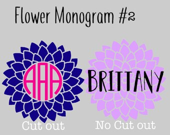 Flower monogram decal #2    Vine Monogram   Circle Monogram   Laptop Monogram   Car Decal   Yeti Cup decal