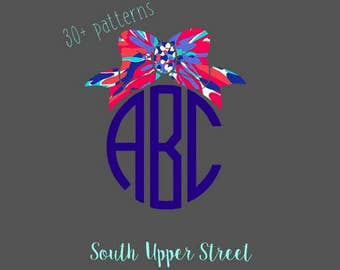 Lilly Bow Monogram #2 | Lilly Pulitzer Inspired | Glitter Decal | Monogram Sticker | Laptop Sticker | Phone Sticker