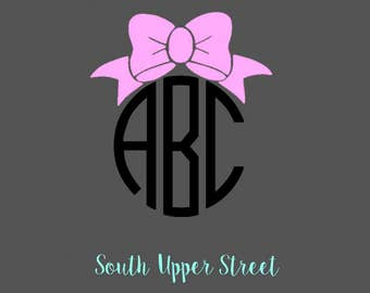Bow Monogram Decal #2   Monogram Decal   Yeti Cup Decal   Bow Decal   Bow Sticker   Vine Monogram Decal   Laptop Decal