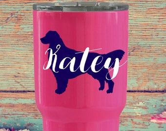 Golden Retriever Decal - Dog Decal - Vinyl Decal - Yeti Cup Decal - Rtic Cup Decal - Monogram Decal - Car Decal