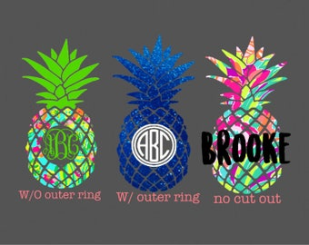 Lilly Pineapple monogram decal- pineapple decal - Yeti Decal - Monogram Decal - Laptop Decal- Car Decal
