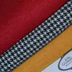 HARRIS TWEED FABRIC 100% pure virgin wool with authenticity labels (3 Piece Bundle 75cm by 50cm) Red Black & White Yellow
