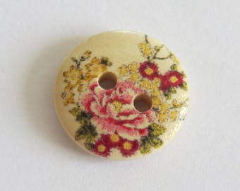 Pink and yellow flower pattern wooden button