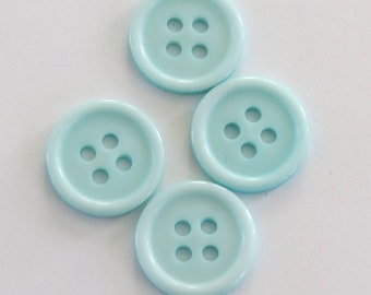 Cute button * turquoise with four holes (set of 4)