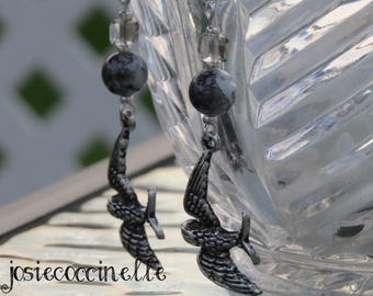 The bird in flight by JosieCoccinelle Silver earrings