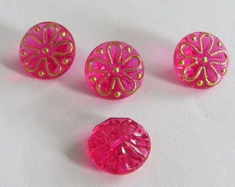 Beautiful button gold and pink translucent flower pattern