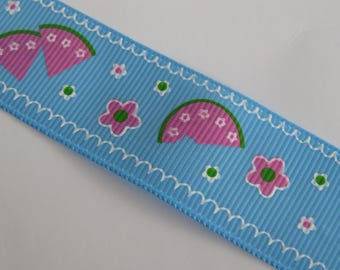 Pretty Blue Ribbon with melon and pink flowers pattern