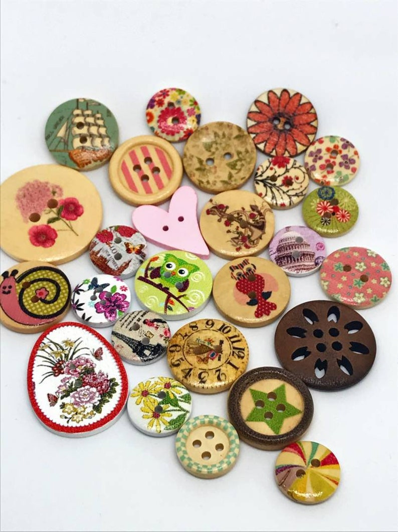 Lot of 25 different and random wooden buttons