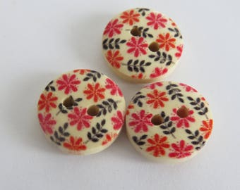 Red and black floral wooden button