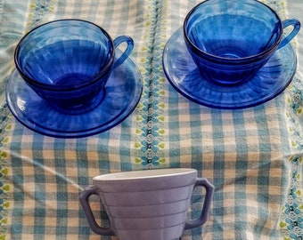 Vintage Cobalt Blue Hazel Atlas Coffee/Tea Cups & Saucers +Bonus Hazel Atlas Blue Moderntone Sugar Bowl-1940's-50's