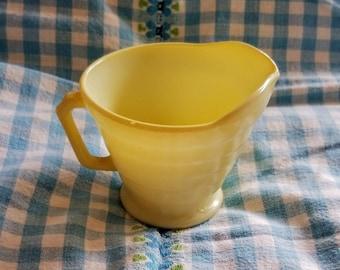 Vintage Hazel Atlas Moderntone Platonite Butter Yellow Creamer-Vintage Hazel Atlas 1940's Moderntone Platonite Kitchen Items