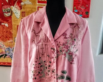 Vintage Alfred Shaheen Asian Print Pink Floral Dress Late 60s-Early 70s-Asian Houses Cherry Blossoms & Green Trees-Loos Like A Painting