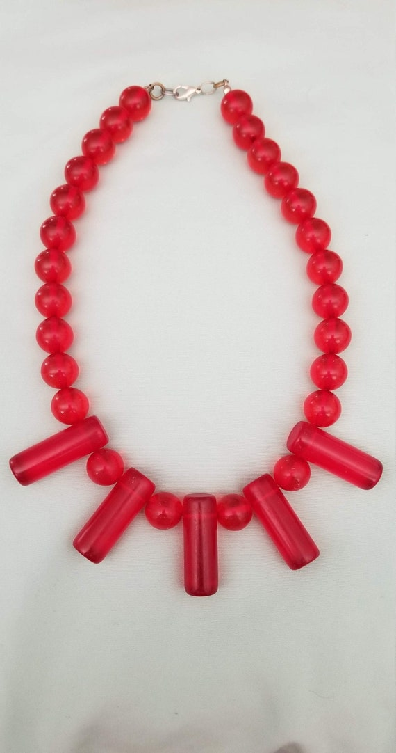 Vintage 1940's-50's Cherry Juice Lucite Necklace-C
