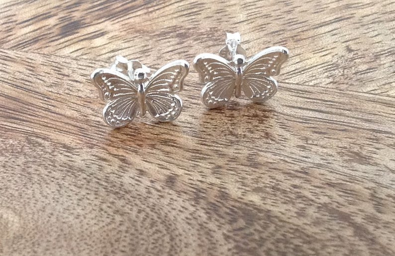 Butterfly Sterling Silver Stud Earrings Animal Earrings Sterling Silver Butterfly Earrings Silver Butterfly Sterling Silver Jewellery