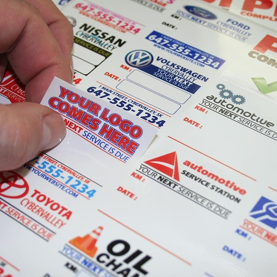 Custom Full Color Oil Change Service Stickers Rotation Re Torque Reminder Labels White Clear Static Cling Low Tack Vinyl Free Shipping