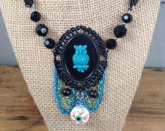 """Handmade """"Eye Am With You"""" up cycled  cabachon necklace gothic noir romance"""