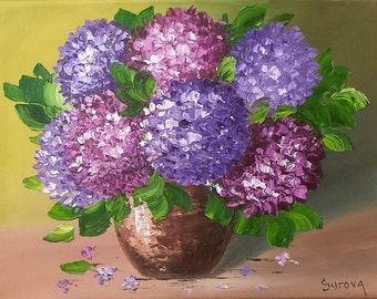 Original purple HORTENSIA flower still life oil painting HYDRANGEA 11 x 14""