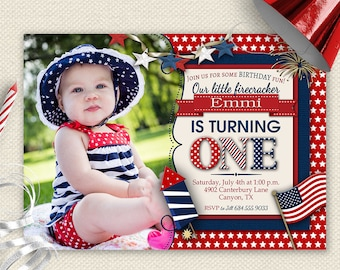 4th Of July Invitation 1st Birthday Invite First Little Firecracker BBQ Red White And Blue