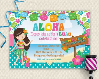 Luau Invitation Birthday Party Pool Summer