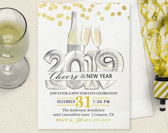 new years eve invitation new years eve invitation holiday party invitation new years invitation champagne gold confetti new years