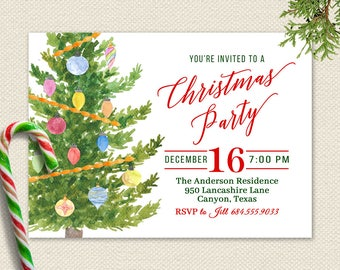 christmas party invitations holiday party invitation christmas invitation watercolor christmas tree rustic printable red