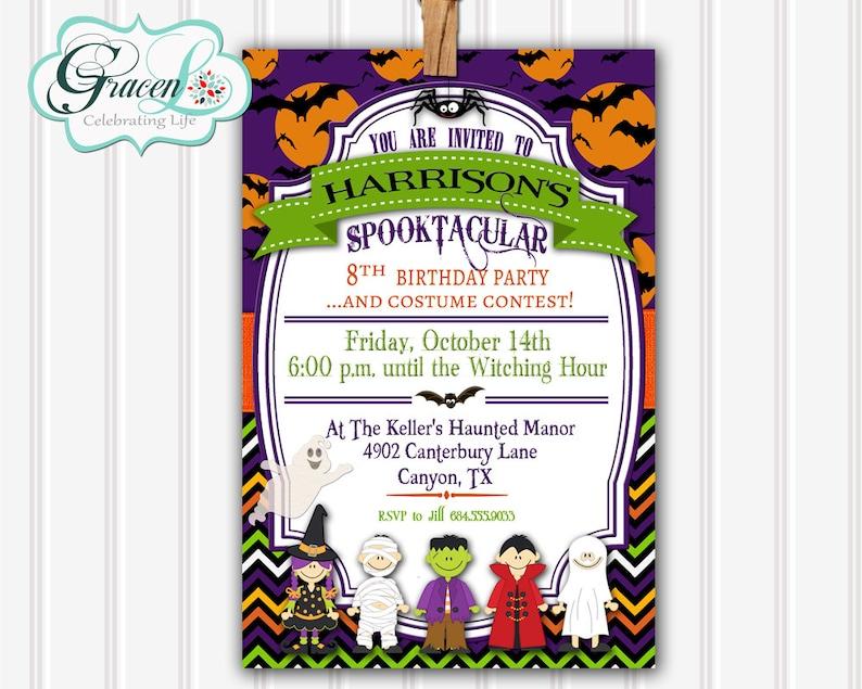 Halloween Birthday Invitation Childrens