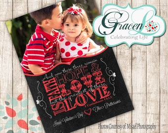 Valentine Photo Card, Happy Valentine's Day, Corinthians 3:13 Valentine's Day Card, Christian Valentine's Card, Religious Cards