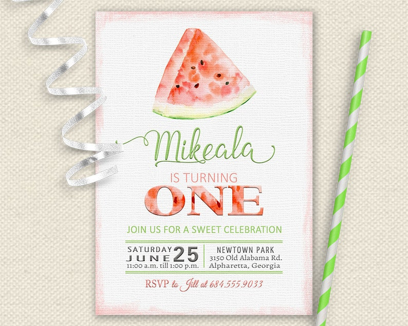 704b8dd9c Watermelon First Birthday Invitation Watermelon Birthday | Etsy