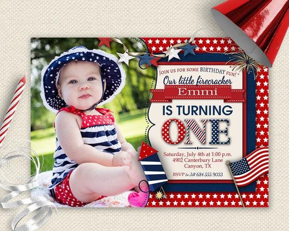 4th Of July Invitation 1st Birthday Invite
